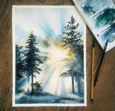 Sunlight in the forest, watercolor : Watercolor Watercolor Illustration, Watercolor Paintings, Watercolors, Painting Illustrations, Oil Paintings, Guache, Painting Techniques, Painting Inspiration, Painting & Drawing