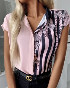 Camisa Floral, Tassel Earing, Chic Type, Africa Dress, Trend Fashion, Floral Stripe, Sleeve Styles, Color Blocking, Printer