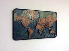 Laser cut topographical world map - Album on Imgur