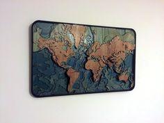 Laser cut topographical world map - Album on Imgur