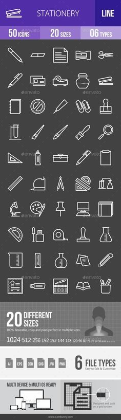Stationery Line Inverted Icons