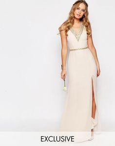 Image 1 ofTFNC WEDDING V Front Embellished Strap Maxi Dress