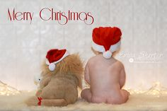 Children's Christmas Photography. Make the stuffed lion the family dog and love!