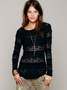 Free People Textured Lace Top, 78.00