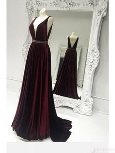 A Line  V-neck Waist Beading  Long Prom Dresses Evening  Dresses  #SIMIBridal #promdresses