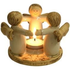 Ceramic angel ring christmas tea light candle holder xmas gift tealight present Paper Clay, Clay Art, Ceramic Clay, Ceramic Pottery, Clay Projects, Clay Crafts, Tea Light Candles, Tea Lights, Pottery Angels