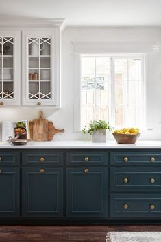 Uplifting Kitchen Remodeling Choosing Your New Kitchen Cabinets Ideas. Delightful Kitchen Remodeling Choosing Your New Kitchen Cabinets Ideas. Dark Blue Kitchen Cabinets, Upper Cabinets, White Cabinets, Kitchen White, Country Kitchen, Colored Cabinets, Teal Kitchen, Open Cabinet Kitchen, Painted Kitchen Cabinets
