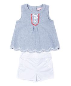 This White & Blue Strip Pleated Tank & Shorts - Infant, Toddler & Girls is perfect! #zulilyfinds