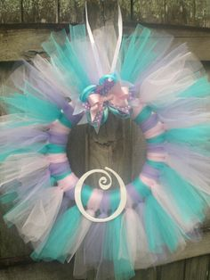 Pink, Lavender, and Aqua Cotton Candy Tulle Tutu Ballerina Princess Wreath with Wooden Letter for Birthday or Baby Shower via Etsy