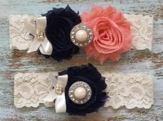 Navy Blue and CORAL Wedding Garter / Bridal Garter by PiccadillyCottage, $21.99