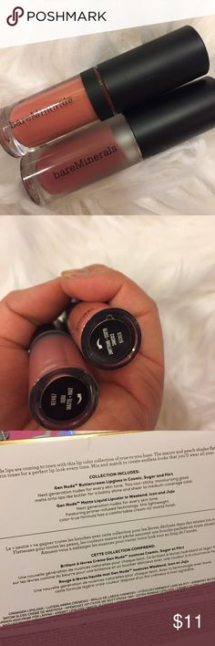 BareMinerals mini lips. Butter cream & Matt Never opened to keep fresh. Mini size. Part of set purchase from Sephora in Jan 2018. Butter cream lip gloss in cosmic, non sticky, moisturizing lip and matte liquid lip color in juju, cream to matte finish, primer infused, light weighted. Both colors are great nudes for every skin tone. No trades. bareMinerals Makeup Lip Balm & Gloss