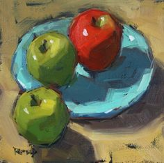 """Two Green One Red"" - Original Fine Art for Sale - © Cathleen Rehfeld Apple Painting, Fruit Painting, Painting Still Life, Still Life Art, Realistic Paintings, Small Paintings, Wal Art, Apple Art, Palette Knife Painting"
