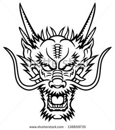 A Dragon head logo. This is vector illustration ideal for a mascot and tattoo or T-shirt graphic.