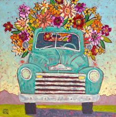 Flower Delivery - Art Print Old Truck Vintage Truck Classic Truck Digital Print Flowers Flower Antique Trucks, Vintage Trucks, Decoupage, Flower Truck, Truck Paint, Vintage Art Prints, Vintage Paintings, Classic Trucks, Classic Cars