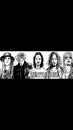 Seattle singers. Andy Wood, Layne Staley, Eddie Vedder, Kurt Cobain and Chris Cornell