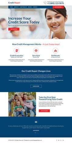 professional and clean credit repair website design