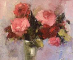 Cottage+roses+in+a+glass,+painting+by+artist+Parastoo+Ganjei