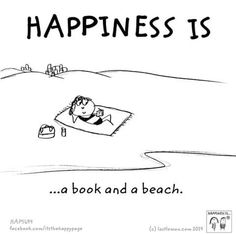 Happiness is a book and a beach.