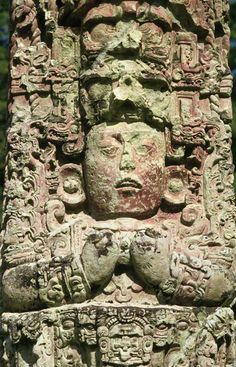 ☆ Detail of Relief Carving on Mayan Stela :→: Photographer Macduff Everton ☆
