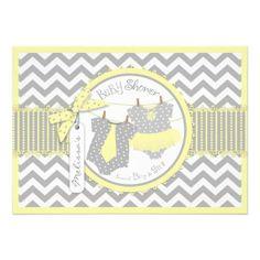Yellow Tie & Tutu, Chevron Print Twins Baby Shower Cards
