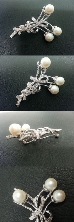 Diamonds and Gemstones 164337: 14Kt White Gold Diamond And Pearl Pin!! Floral Bouquet Design Diamond Brooch!! -> BUY IT NOW ONLY: $539.99 on eBay!