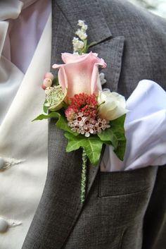 Flower Design Events: Autumnal Pinks for Victoria & Sam's Glorious Wedding Day at St Anne's Parish Church & The Grand Hotel Corsage Wedding, Flower Bouquet Wedding, Bridesmaid Bouquet, Bridal Bouquets, Wedding Flower Arrangements, Floral Arrangements, Corsage And Boutonniere, Boutonnieres, Wedding Boutonniere