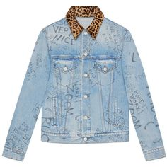 Gucci Scribbled Writing Print Denim Jacket ($1,765) ❤ liked on Polyvore featuring men's fashion, men's clothing, men's outerwear, men's jackets, denim, men, outerwear, ready to wear, gucci mens jacket and mens leopard print jacket