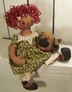 Puppy Love Raggedy Ann Primitive Dog epattern. Instant Download $6.51