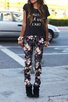 make floral pants way more cool and tough with a graphic tee and sneaker wedges