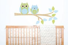 2 Owls tree branch kids FABRIC wall decal by ToodlesDecalStudio, $36.50