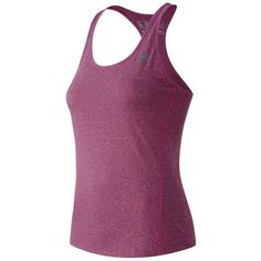 Women's New Balance Heathered Racerback Workout Tank ($25) ❤ liked on Polyvore featuring activewear, activewear tops, purple oth, stitched jerseys, new balance, purple jersey, new balance activewear and racerback jersey