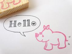 Rubber stamp rhino, Baby shower decor, Kids toy, Animal rubber stamp, Kawaii baby, Invitation DIY, Pink baby girl, Baby boy rhinoceros by JapaneseRubberStamps on Etsy https://www.etsy.com/listing/216538377/rubber-stamp-rhino-baby-shower-decor