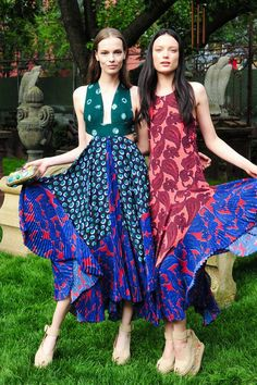 Beautiful printed maxi dresses, shown during Stella McCartney's garden party.
