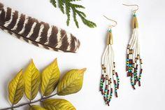 Long Tassel Earrings Tassel Seed Bead Earrings by bytherockandweed