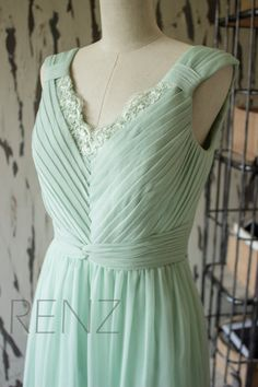 2015 New Chiffon with lace neckline Bridesmaid dress by RenzRags