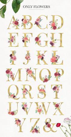 Flower Letters, Flower Alphabet, Monogram Letters, Banner Letters, Design Alphabet, Hand Lettering Alphabet, Watercolor Lettering, Floral Watercolor, Wedding Logo Design
