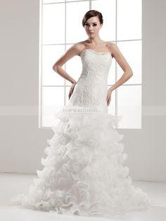 Perrie - robe de mariée sirène traîne moyenne en satin avec perlage