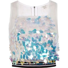 River Island White sequin sporty crop top ($24) ❤ liked on Polyvore featuring tops, ri limited edition, sale, white, women, white sleeveless top, cut-out crop tops, white sequin top, white crop tops and square neck crop top