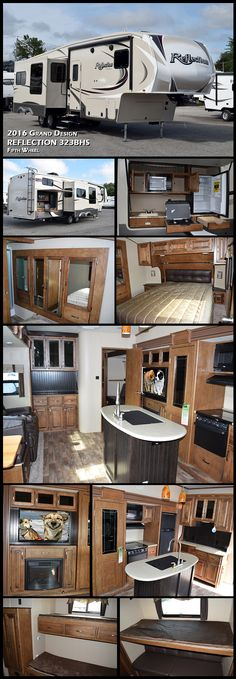 This 2016 Reflection fifth wheel model 323BHS by Grand Design RV features quadruple slide outs for added space, a rear bunkhouse that the kids or extra guests will love, a convenient kitchen island inside, and an outdoor kitchen too!