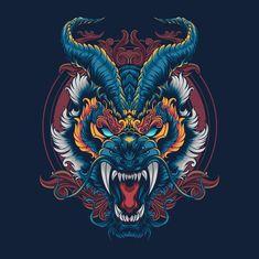 Dragon Tattoo Art, Dragon Art, Japanese Artwork, Japanese Tattoo Art, Japan Tattoo Design, Samurai Artwork, 8bit Art, Japon Illustration, Masks Art