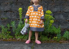 Rae's Charlie Dress pattern in elephants and shot cotton