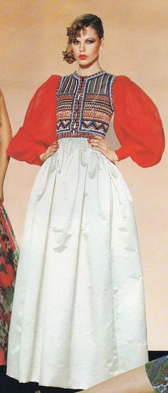 Pierre Balmain Haute Couture- 1977 Sheer red sleeved blouse with beaded Lesage embroidered vest and white stain skirt. L'officiel USA Spring 1977
