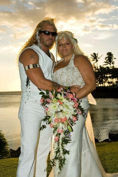 Bounty Hunter, Duane Chapman, and his fifth wife Beth Smith have two children together. Beth has a daughter from her prior marriage and a son from her high school ex-boyfriend. The couple's relationship has many twists and turns. Celebrity Couples, Celebrity Weddings, Beth The Bounty Hunter, Hunter Dog, Celebrities Then And Now, Wnba, Beautiful Love, Beautiful Things, Bridesmaid Dresses