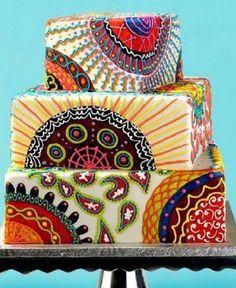 Bello y colorido cake de boda con inspiración africana.