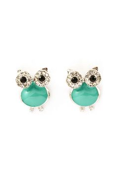 "Turquoise Crystal Owl Earrings on Emma Stine Limited Delish Crystal Owl Buttons Enameled in Turquoise. $38 EARRINGS SIZE: 3/4"" drop EARRINGS CLOSURE: Post Back Hypo Allergenic / Enameled Rhodium Plated Crystal Owl Earrings"