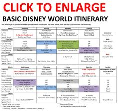 Disney World links for different basic itineraries.// This is a great idea for families traveling together. Saves unwanted stress!