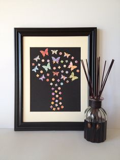 Butterfly Tree Paper Wall Art Colourful Palette by Butterfly Tree, Paper Wall Art, Palette, Unique Jewelry, Frame, Handmade Gifts, Etsy, Vintage, Color