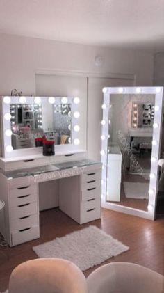 Room Design Bedroom, Room Ideas Bedroom, Diy Bedroom Decor, Home Decor, Decor Room, Makeup Room Decor, Makeup Rooms, Glam Room, Teen Girl Bedrooms
