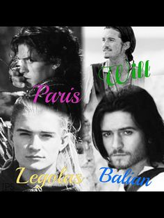 Orlando Bloom as Legolas (Lord of the rings), Will Turner (Pirates of the Caribbean), Balian (Kingdom of Heaven) and Paris  (Troy)