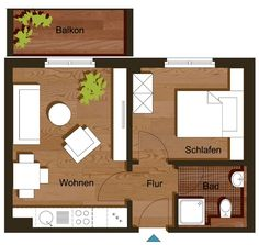 Floor plan two-room apartment 35 m² - Modern Studio Apartment Floor Plans, Bungalow Floor Plans, Modern House Floor Plans, Studio Apartment Layout, Small House Layout, Tiny House Design, House Layouts, Lofts, Small Cottage House Plans